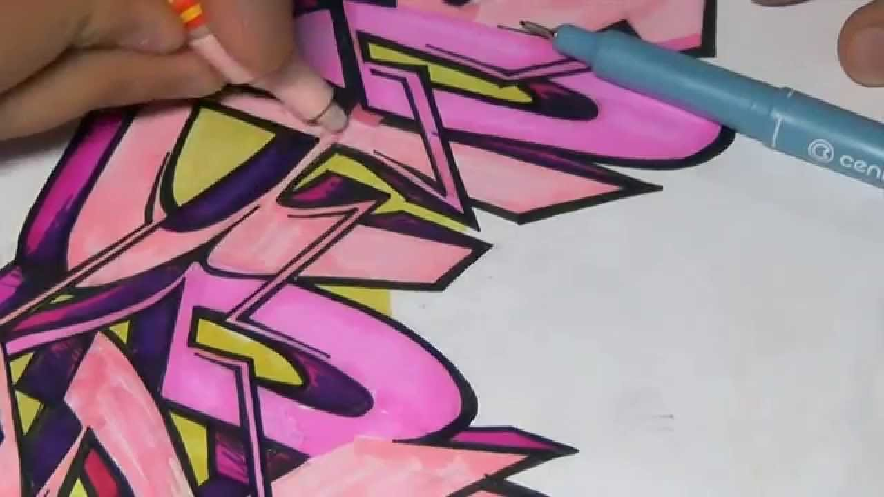 how to draw a graffiti sketch