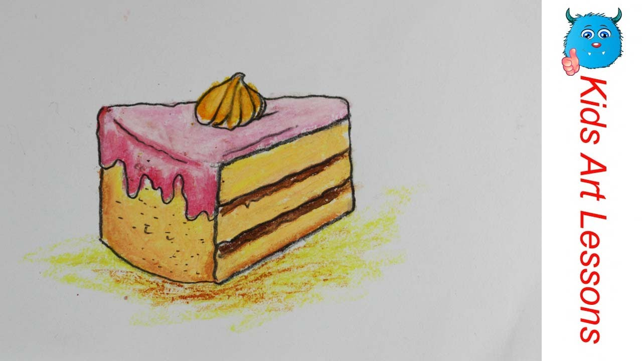 Food Drawings: How to Draw A Piece of Pastry Cake easily in Oil ... for Drawing Cake Step Step  45gtk