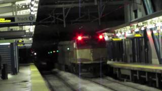 Fast MBTA Commuter Rail Trains at Rt.128 Station (2/14/11)