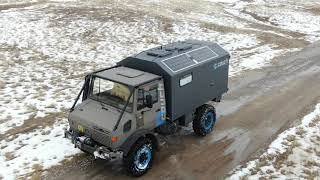 Unimog 1350 270hp w/CTIS expedition camper playing in a little snow at the Couch Off Road Playground