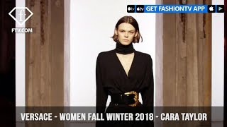 Versace Presents Cara Taylor in All Black Women Fall/Winter 2018 | FashionTV | FTV