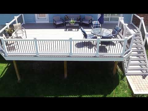 Azek Slate Gray Deck with White Vinyl Washington Railing