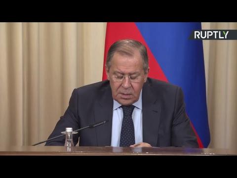 Sergueï Lavrov tient une conférence de presse avec ses homologues iranien et turc