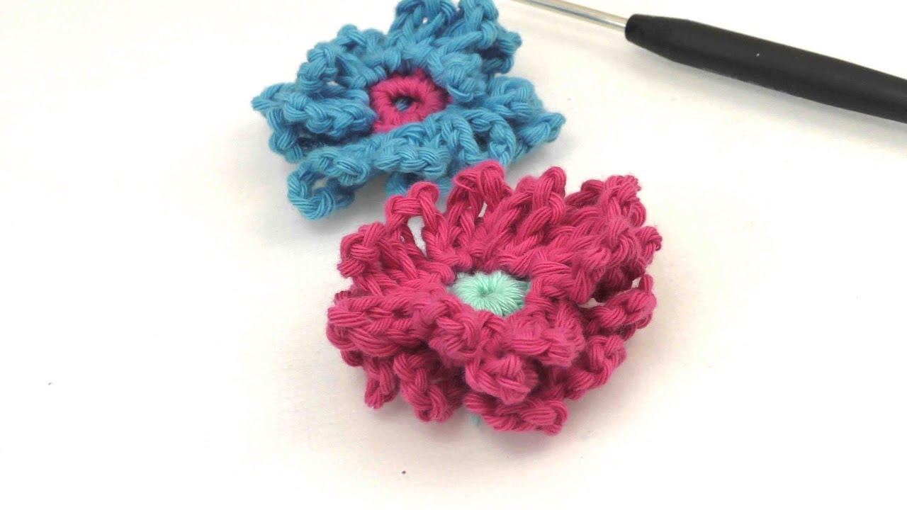Blume häkeln für anfänger - Blume mit Luftmaschen Ketten - YouTube
