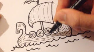 Repeat youtube video Drawing a Cartoon Viking Boat - Desenhando um Barco Viking