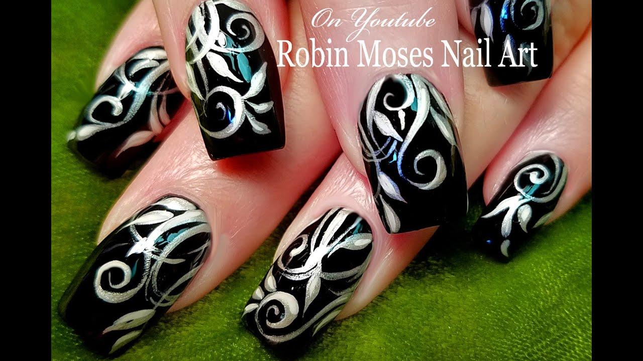 DIY Filigree Nails   Black and Silver Nail Art Design ...