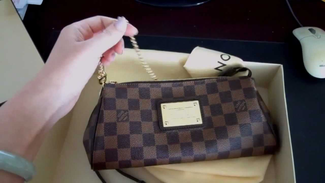 f44c4a7c8f32 New purchase  Louis Vuitton Damier ebene eva clutch!! - YouTube