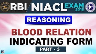 Blood Relation | Indicating Form | Part 3 | RBI/NIACL Exam 2018 | Reasoning | 10 PM
