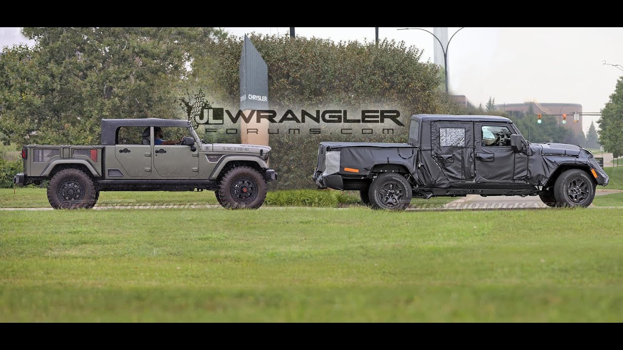2019 Jeep Scrambler Pickup Jt Wrangler Based Spied Testing With Crew Chief