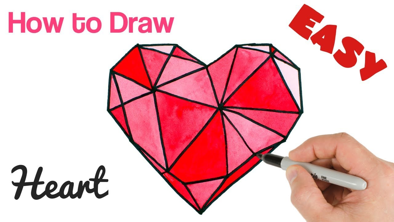 How to Draw Crystal Heart Watercolor Easy | Valentine's ...