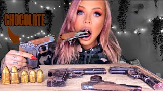 ASMR EDIBLE CHOCOLATE GUN EATING (FAKE) & EDIBLE CANDY BULLETS (FAKE) EXTREME CRUNCHY EATING SOUNDS