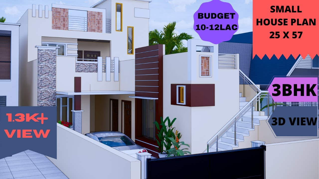Small House Design 25 X 57 Low Budget Elevation 10 12 Lac Indian Architecture Youtube