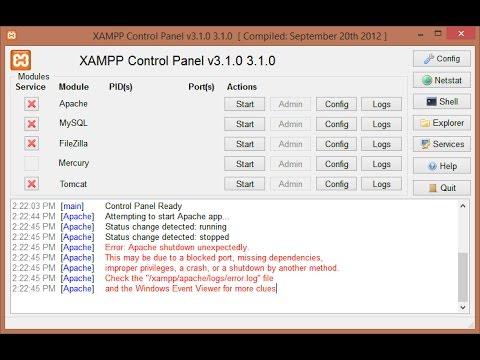 Error: Apache Shutdown unexpectedly in  Xampp 2016