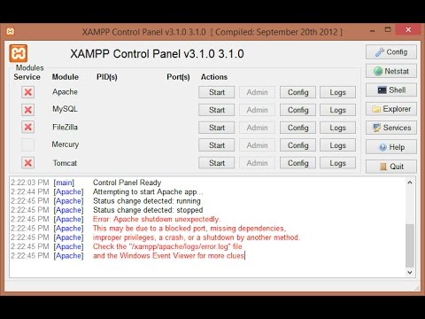 Error: Apache Shutdown unexpectedly in  Xampp 2016
