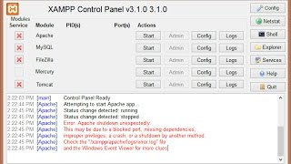 How to fix Windows 10 xampp error apache shutdown unexpectedly