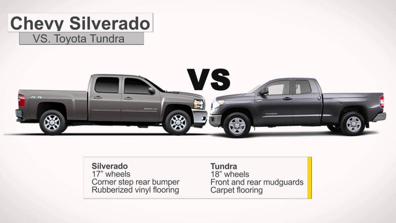 Tundra Towing Capacity >> Compare 2014 Chevy Silverado 1500 vs Toyota Tundra - YouTube