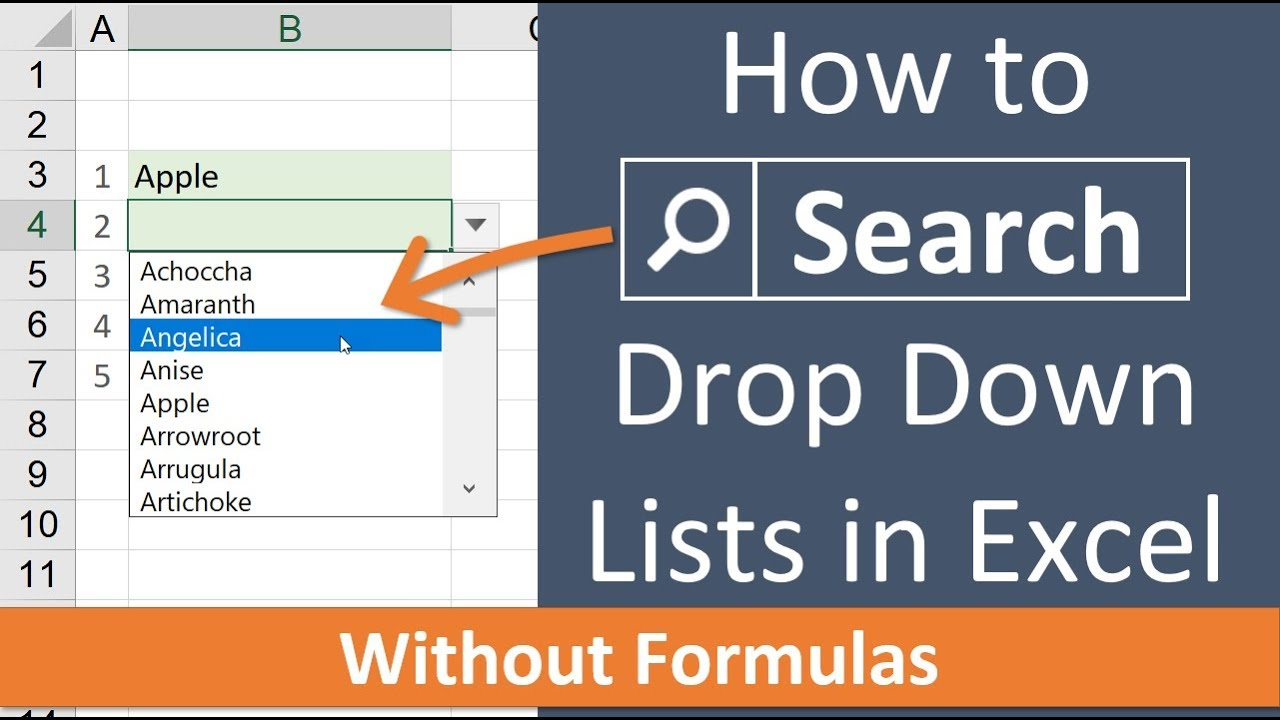 Searchable Drop Down Lists in Excel - The List Search Add-in