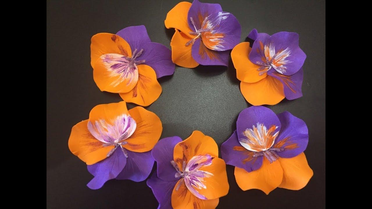 Цветы Анютины глазки из фоамирана пластичная замша. Diy ...
