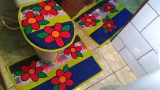 Tapetes com Apliques de Flores de Tecidos