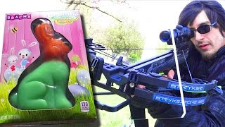 Can a GIANT GUMMY BUNNY stop a CROSSBOW?   Easter Sunday Experiment!