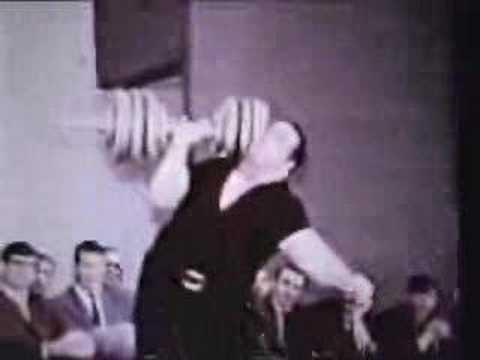 Paul Anderson onearm presses 300 pounds.