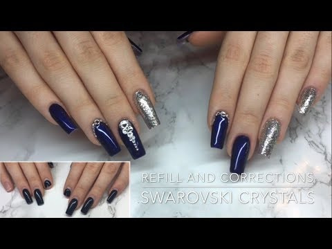 Refill + Structure Correction and Swarovski Crystals  - Crispynails ♡