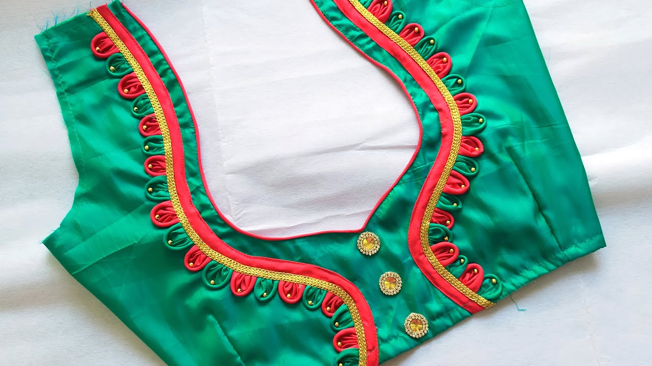 simple blouse back neck design cutting and stitching