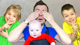 Vania and Mania playing Hide and Seek with Daddy and Little Baby Dasha