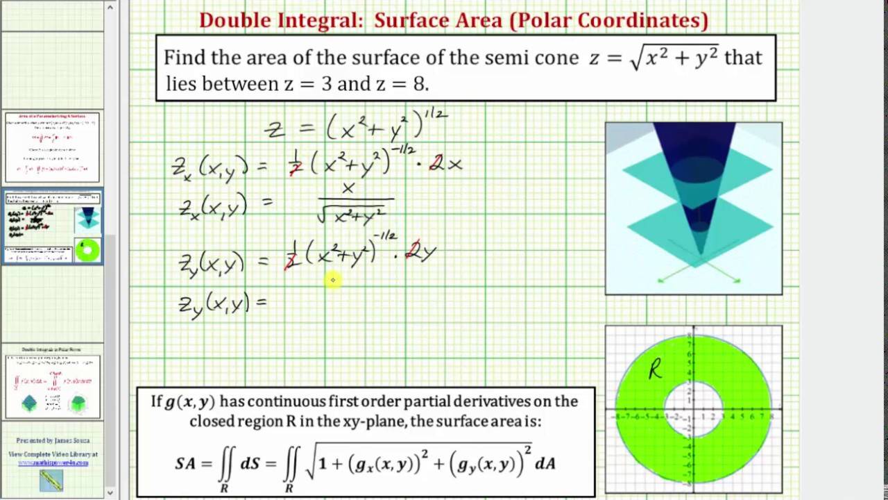 Surface Area Of A Cone Bounded By Two Planes Using A Double Integral (polar)