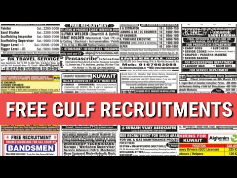 FREE JOBS IN KUWAIT/DUBAI/SAUDI/QATAR INTERVIEWS IN INDIA IMMEDIATELY DEPARTURE ATTRACTIVE SALARY