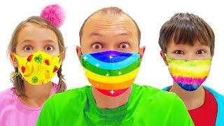 Katy y Max en la tienda con máscaras antivirus