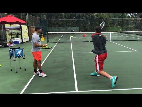 Tennis training: Coach Dabul with  Federico Gomez D1 college player (Nadal, Federer, Murray drills)