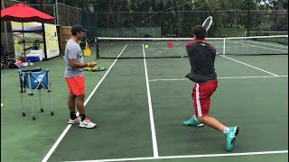 Tennis training: Coach Dabul with  Federico Gomez D1 college player (Nadal, Federer, Murray drills)