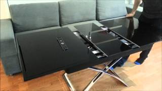 Space Saver Wall Bed Couch Combination And Black Glass Extending Table Demonstration From Expand Fur