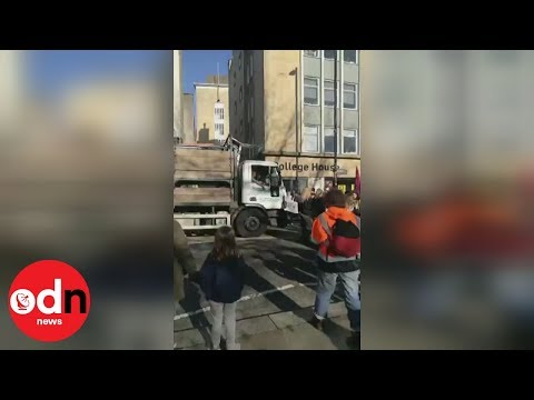 Lorry rams into crowd of climate change protesters in Bristol