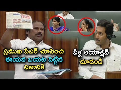 YSRCP MLA Sudhakar Babu reveals truth by showing reputed news paper in Assembly