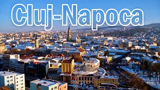 Panorama of Cluj-Napoca, Romania, and points of interest