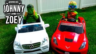 """POWER WHEELS """"Silly RACE with Hulk Smash and Ninja Turtle"""" and Mercedes & Power Wheel Corvette"""