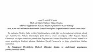 Hizbut tahrir Türkiye vilayetinden Ankara'daki Amerika ve İngiltere büyük elçiliklerine açık mektup.