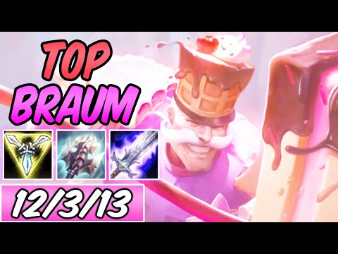 S+ SUGAR RUSH BRAUM TOP AD PRESS THE ATTACK 40% CDR | New Build & Runes | League of Legends | S10