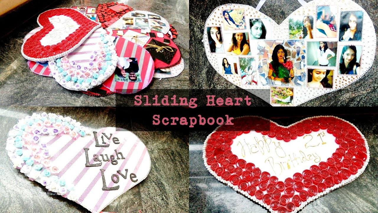 Sliding Heart Unique Scrapbooking Idea Birthday Gift
