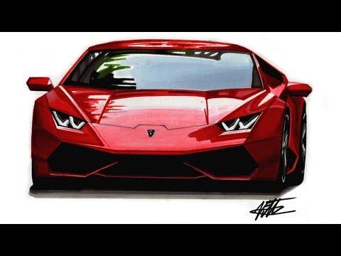 How to Draw a Realistic Supercar - Lamborghini Huracan - Tutorial