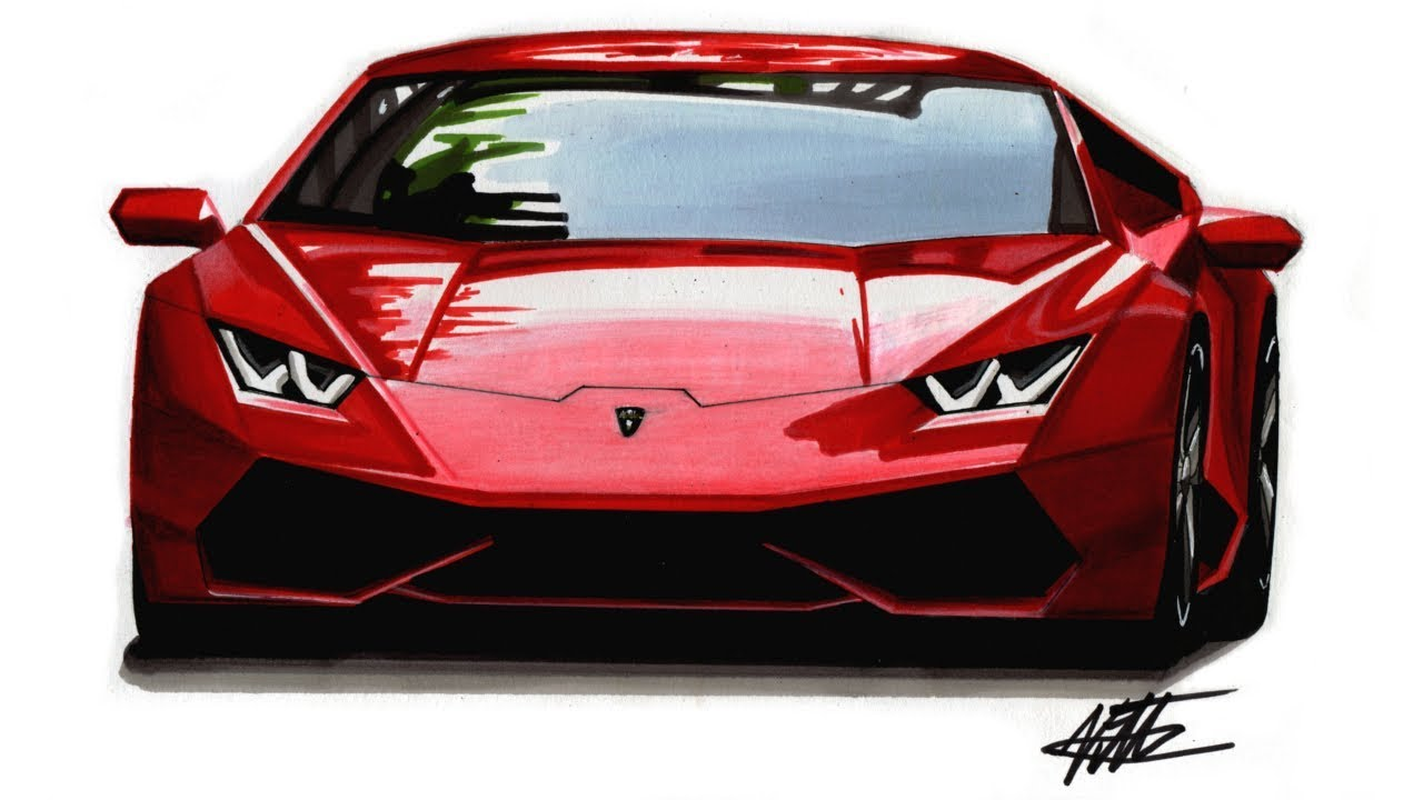 How To Draw A Realistic Supercar Lamborghini Huracan Tutorial