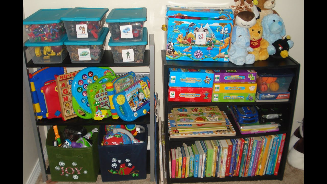 How i organize my preschoolers small room toys clothes How to store books in a small bedroom