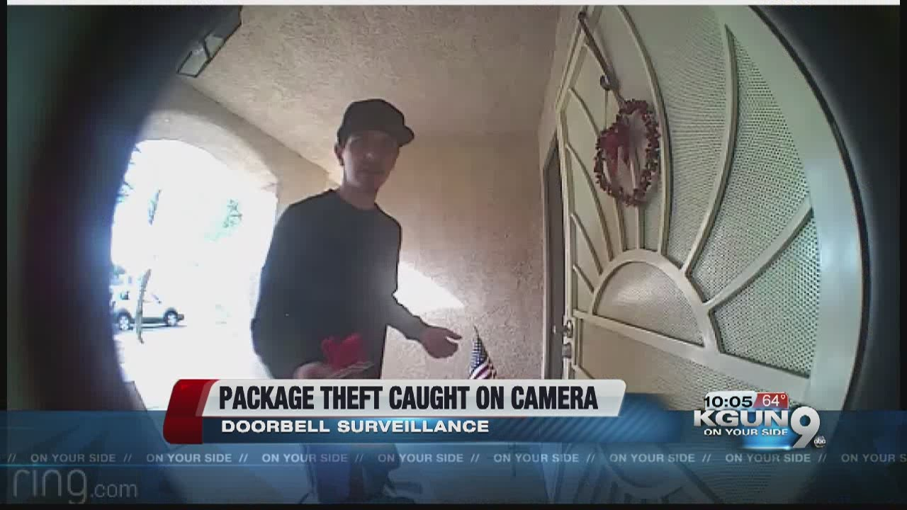 Package theft caught on doorbell camera