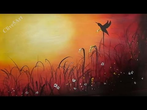 Sunset Bird, Easy lesson,Acrylic Painting for beginners,learn to paint,