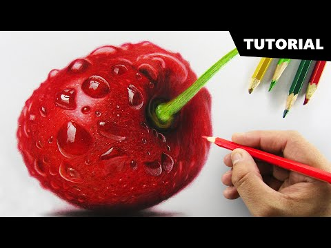 draw-cherry-with-colored-pencils- -tutorial-for-beginners