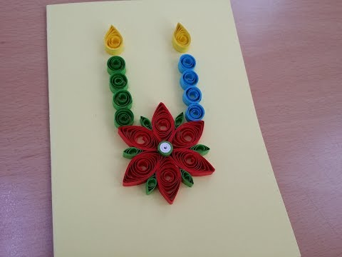 How to make 3d Greeting Quilling Card - DIY Paper Crafts - Birthday Gift Card Ideas # 100