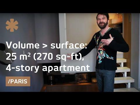 Cubic mentality: 4-story Paris flat fits comfort in 25 sq mt