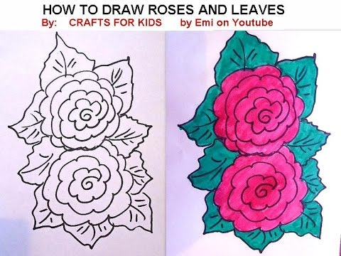 how to draw roses and leaves easy flowers free drawing lessons